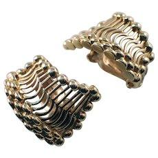 14k Yellow Gold Fan Hoop Earrings