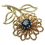 14k Yellow Gold Sapphire and Diamond