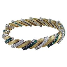 18k Yellow Gold and Platinum Emerald and Diamond Bracelet