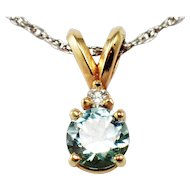 14k Yellow and White Gold Aquamarine and Diamond Pendant