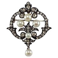 Antique French Silver over Gold Diamond and Pearl Pin/Pendant