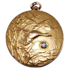 Antique 14k Yellow Gold Hunting Locket