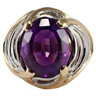 18k Yellow Gold and Platinum Amethyst Ring