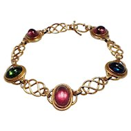 Art Nouveau 18k Yellow Gold Tourmaline Bracelet