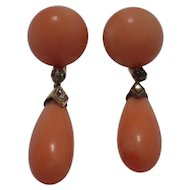 Antique 14k Yellow Gold Coral Earrings
