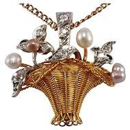 Edwardian 18k Yellow Gold and Platinum Pearl and Diamond Pendant