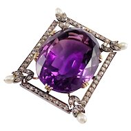 Antique Silver over Gold Amethyst, Diamond, and Pearl Pin/Pendant