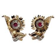 Retro 14k Yellow Gold Ruby and Diamond Earrings