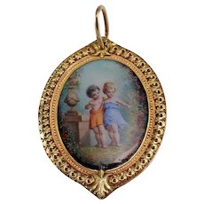 Antique 18k Green and Rose Gold Enamel Pendant