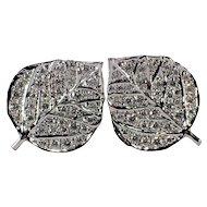 18k White God Diamond Leaf Earrings