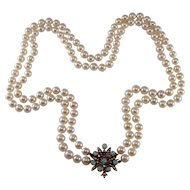 14k Yellow Gold Pearl, Opal, and Diamond Necklace