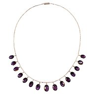 Antique 14k Yellow Gold Amethyst Necklace