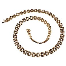 1970s 14k Yellow Gold Panther Link Necklace