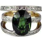 18k Yellow Gold and Platinum Tourmaline and Diamond Ring