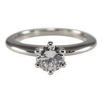 Platinum Brilliant Cut Diamond Solitaire Engagement Ring