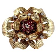 14k Yellow Gold Ruby and Diamond Flower Brooch