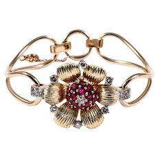 Retro 14k Yellow Gold Ruby and Diamond Bracelet