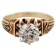 Antique 14k Yellow Gold Diamond and Enamel Engagement Ring