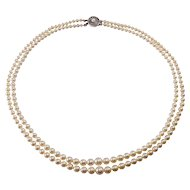 14k White Gold Double Strand of Pearls