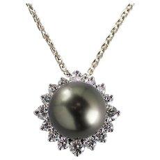 14k White Gold Tahitian Pearl and Diamond Pendant