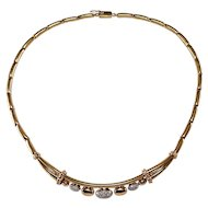 18k Yellow and Rose Gold Diamond Necklace