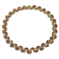 14k Yellow Gold Bean Shaped Necklace