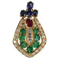 18K Yellow Gold Diamond, Emerald, Ruby, and Sapphire Slide Pendant