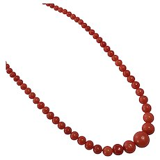 Antique Coral Single Strand Beaded Necklace
