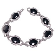 18k White Gold Onyx and Diamond Bracelet