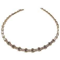18k Yellow Gold Sapphire and Diamond Necklace