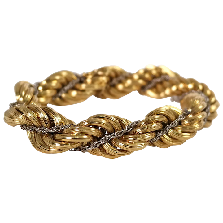 18k Yellow And White Gold Rope Bracelet