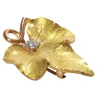 Retro 14k Yellow and Rose Gold Diamond Brooch