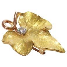 Retro 14k Yellow and Rose Gold Diamond Brooch