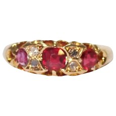 Antique 18k Yellow Gold Ruby and Diamond Ring.
