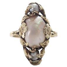 Art Nouveau 14k Yellow Gold Pearl Ring