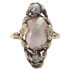 Art Nouveau 14k Yellow Gold Pearl Ring