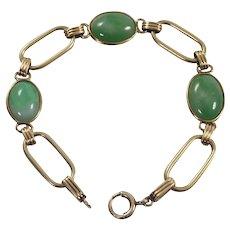 Retro 14k Yellow Gold Jade Bracelet