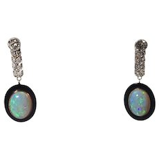 Platinum over Gold Opal and Diamond Pendant Earrings