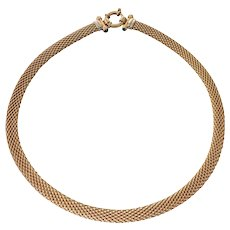 14k Yellow Gold Mesh Choker Necklace