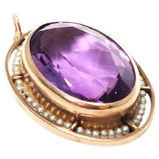 Mid-Century 14k Yellow Gold amethyst and Seed Pearl Pendant
