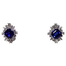 18 and 14k White Gold Tanzanite and Diamond Earrings