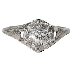 Art Deco 14k White Gold Diamond Ring