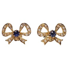 Antique 14k Yellow Gold Seed Pearl and Sapphire Earrings