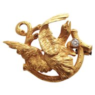 Art Nouveau 18k Yellow Gold Diamond Eagle Brooch