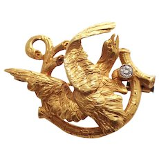 Art Nouveau 18k Yellow Gold Diamond Eagle Brooch