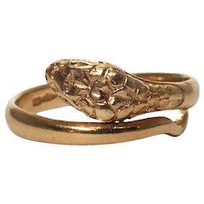 Antique 18k Yellow Gold Snake Ring