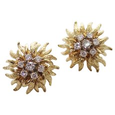 18k Yellow Gold Diamond Starburst Earrings