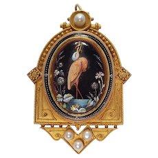 Antique 14k Yellow Gold Enamel, Pearl, and Diamond Locket