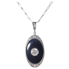 French Art Deco Platinum Diamond and Onyx Pendant