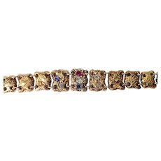 Antique 14k Yellow Gold Diamond, Sapphire, and Ruby Bracelet